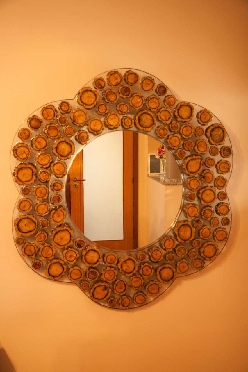 Espelho de madeira e resina cristal Compositio